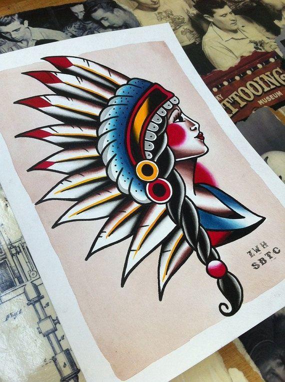 570x763 Traditional Tattoo Flash Indian Head Pinup Girl By Zhendlmyer