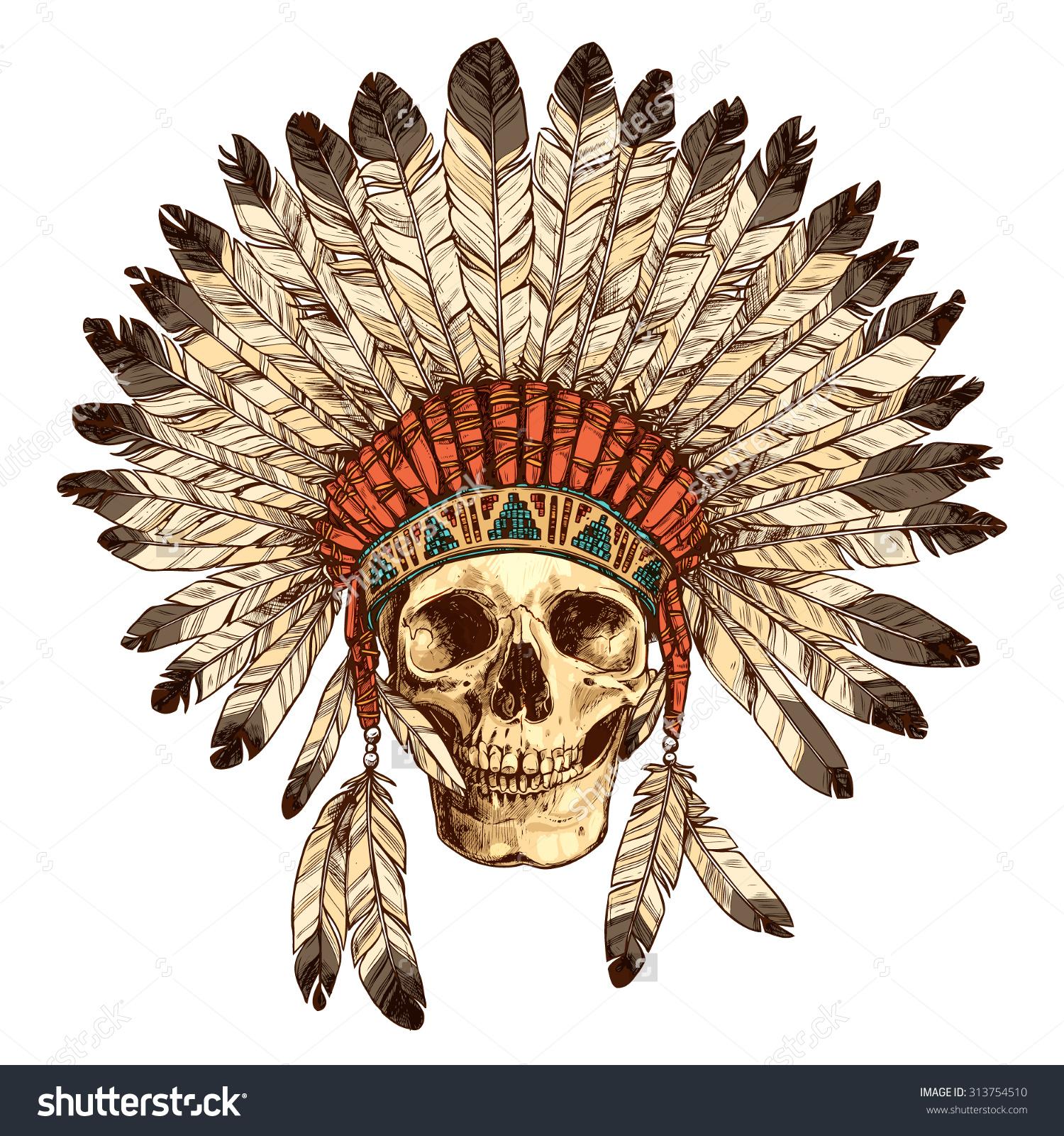 1500x1600 Native American Headdress Drawing Hand Drawn Native American