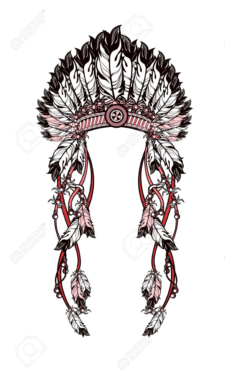 776x1300 Vector Illustration American Indian Headdress With Feathers