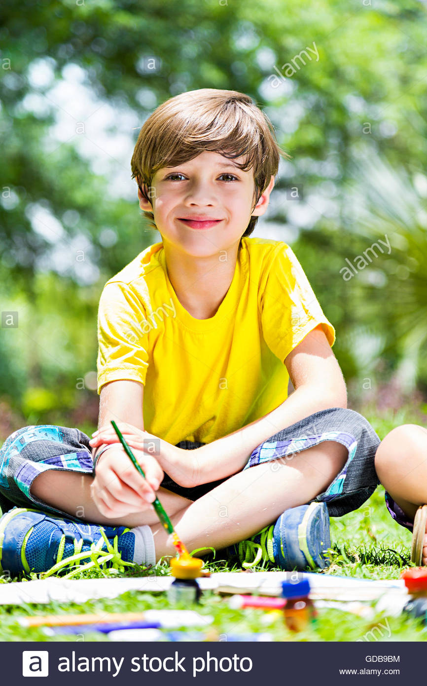 866x1390 1 Indian Kid Boy Students Park Drawing Painting Stock Photo