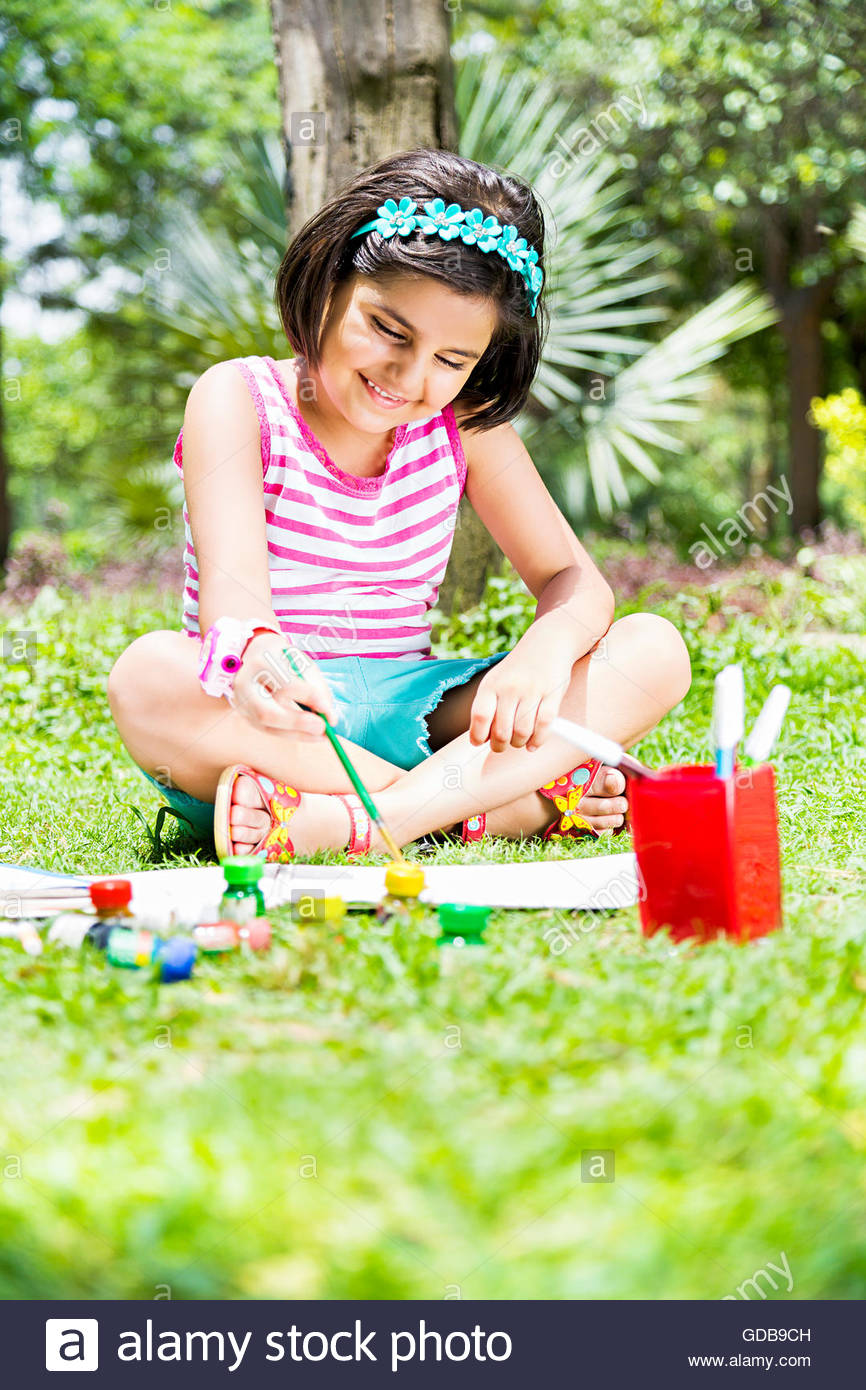 866x1390 1 Indian Kid Girl Students Park Drawing Painting Stock Photo