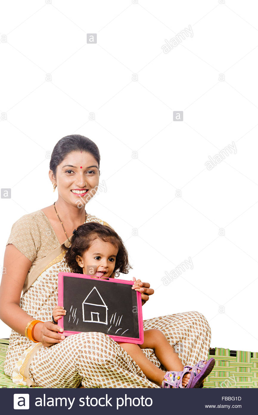 866x1390 2 Indian Rural Mother And Kid Daughter Slate Board Drawing