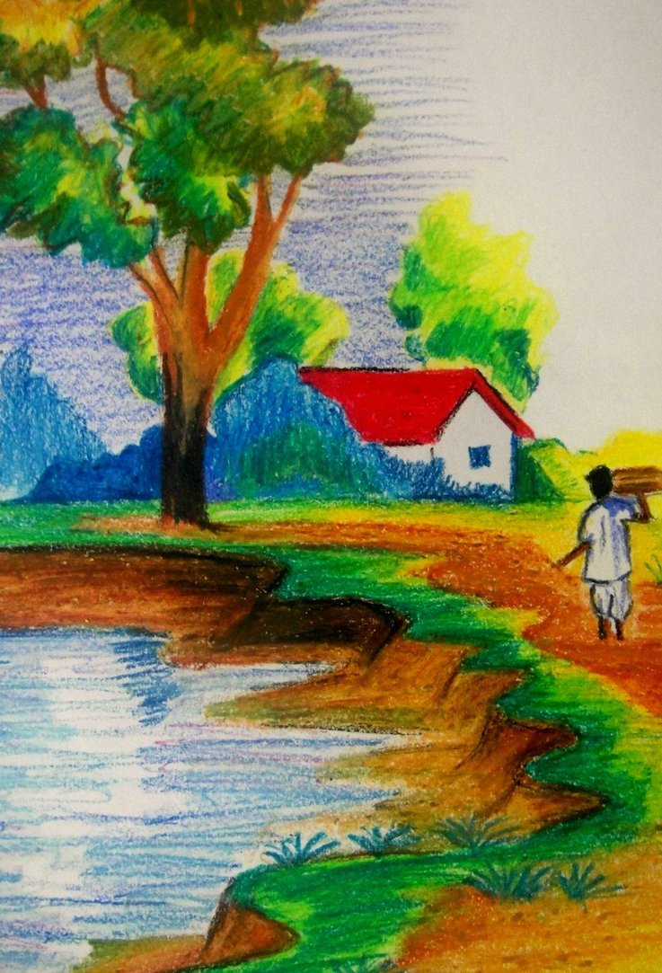737x1083 Indian Village Scenery Drawing For Kids Village Scenerycapricorn
