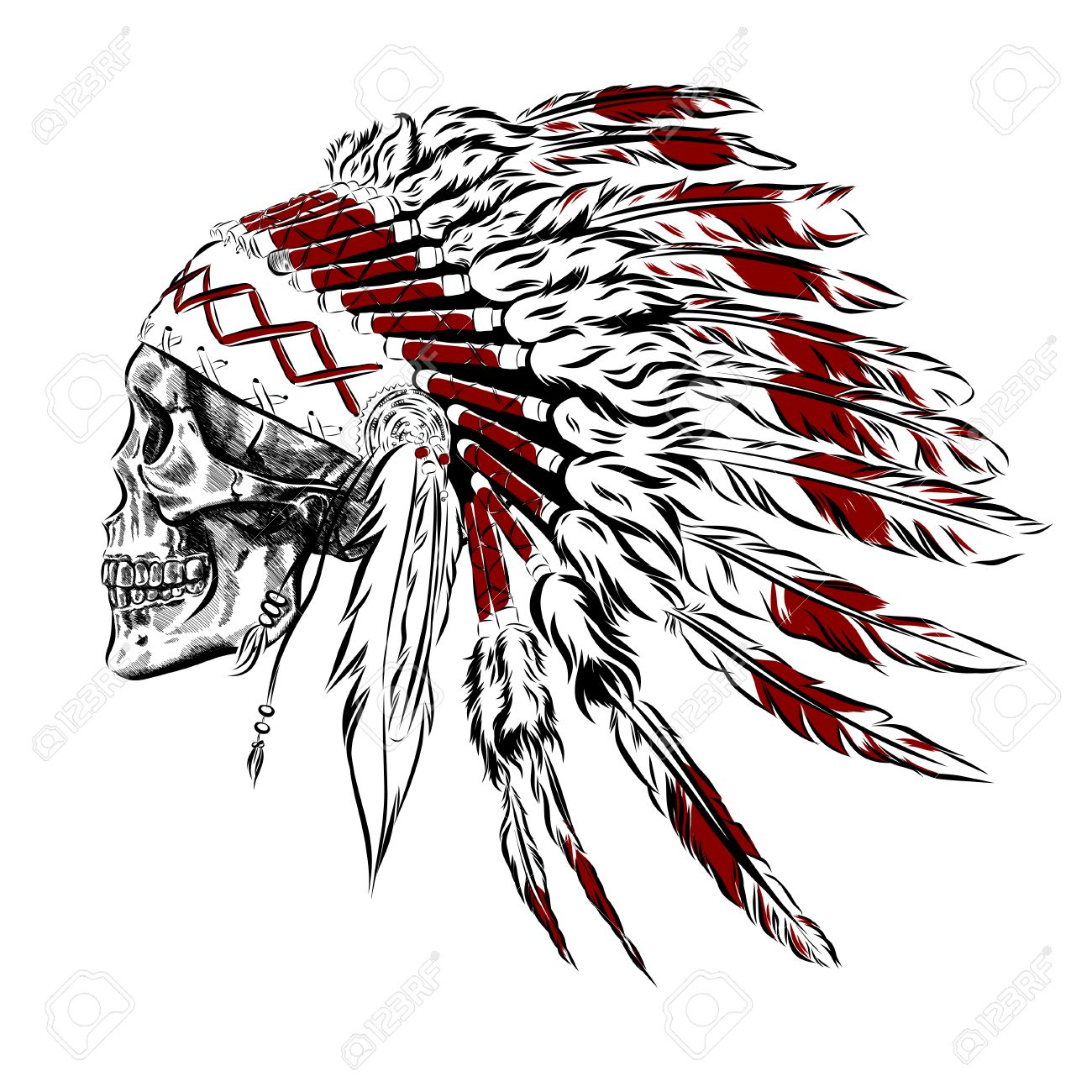 1300x1300 Hand Drawn Native American Indian Feather Headdress With Human