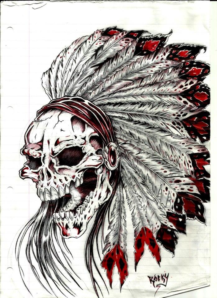 698x960 Indian Skull Tatt By Cjrocky