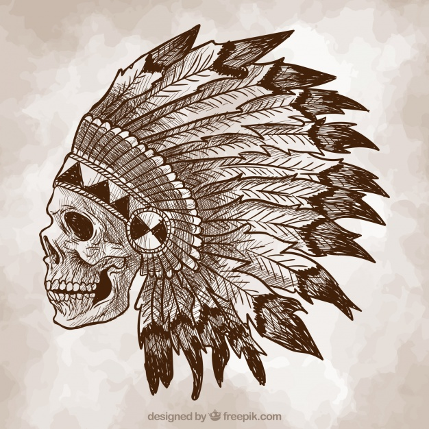 626x626 Indian Skull Sketch Background Vector Free Download
