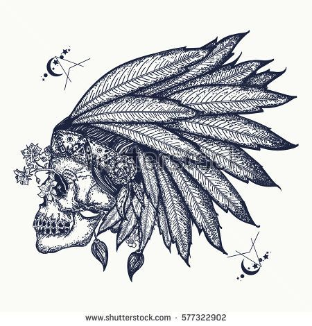 450x470 Indian Skull Tattoo Art. Warrior Symbol. Native American Indian