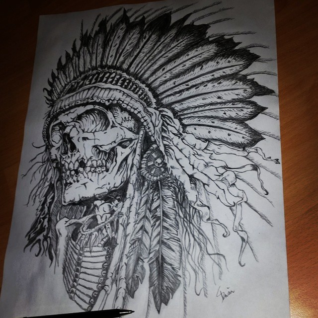 640x640 Native American Indian Skull By