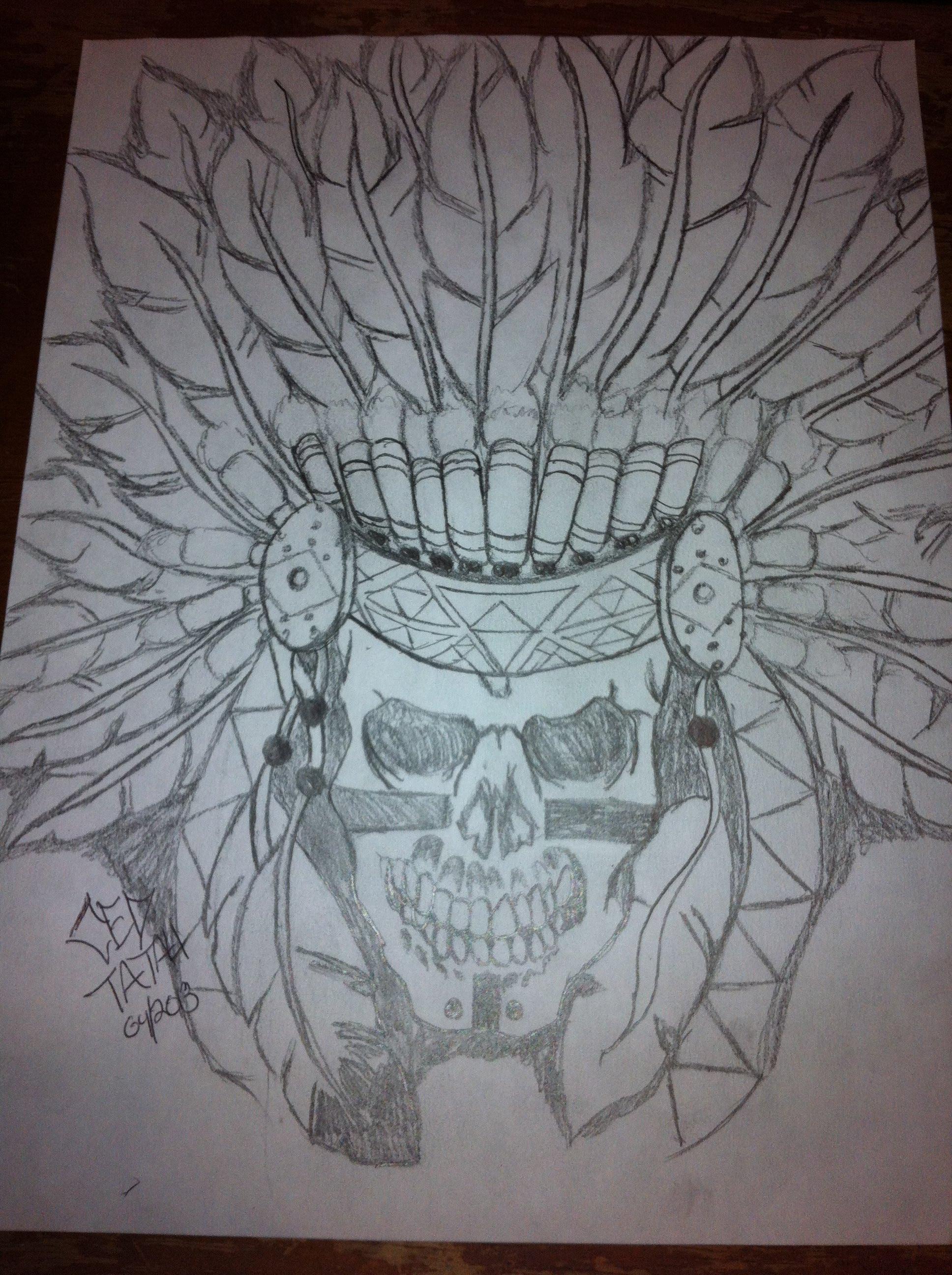 1936x2592 Native American Skull Drawing By Ced Tatau
