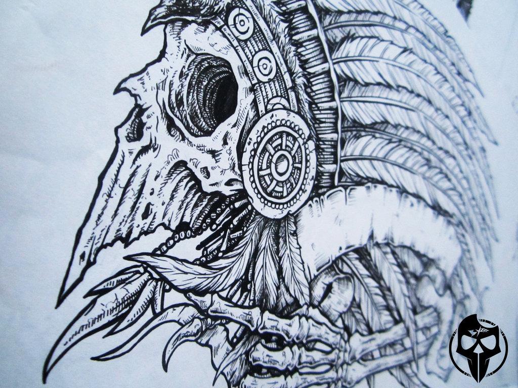 1024x768 Skull Indian By Byzart