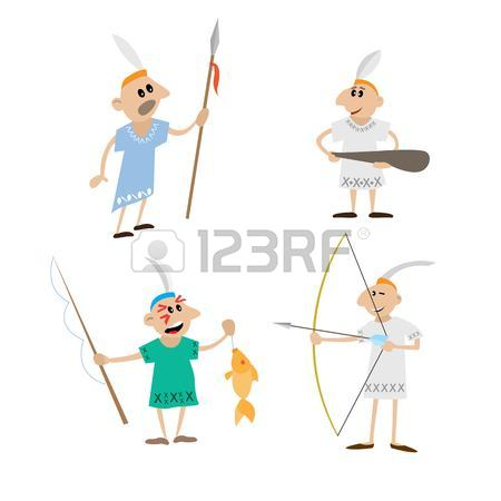 450x450 Indian Spear, Bow, Stick, Spinning. Cartoon Vector Illustration