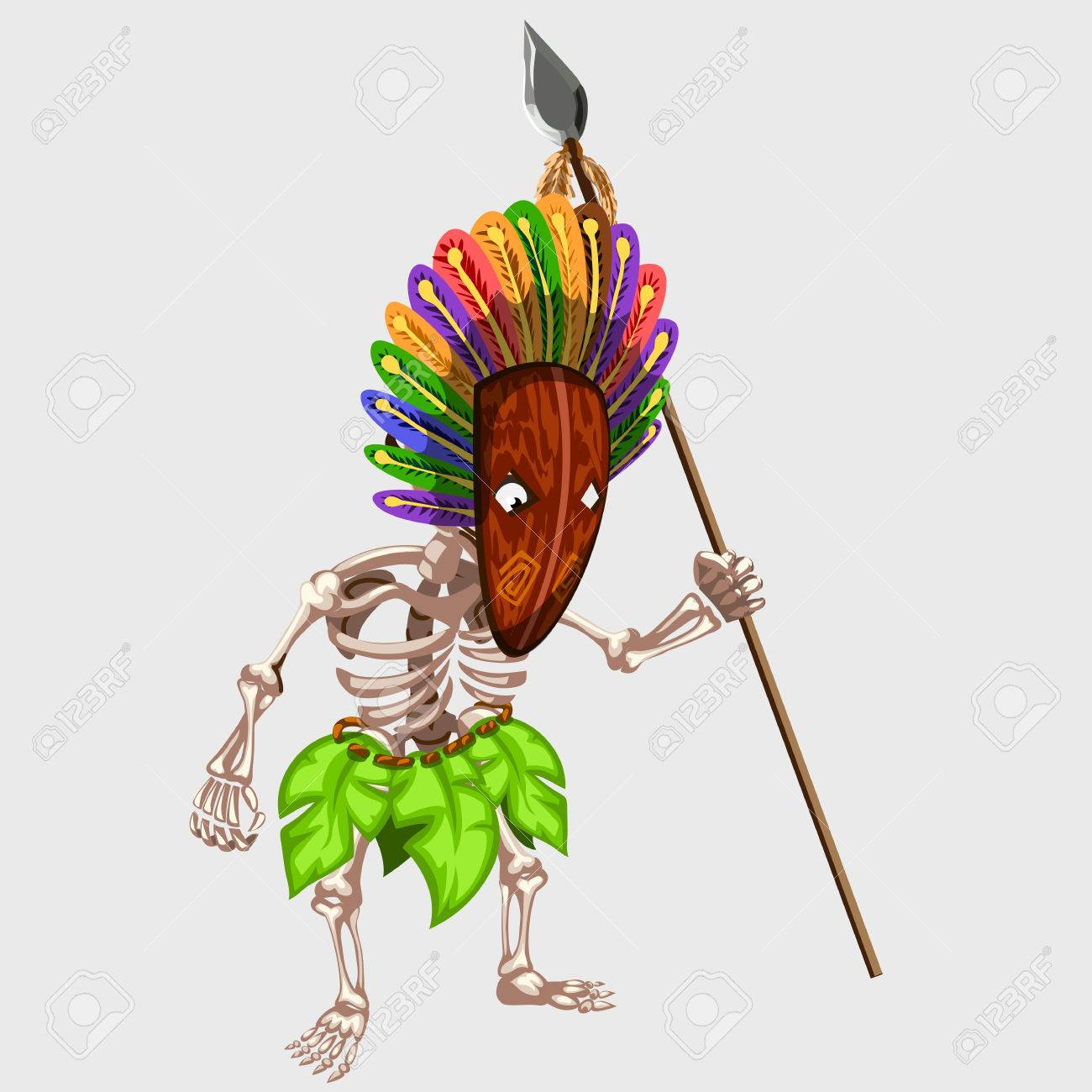 1300x1300 Skeleton In Indian Mask With Spear, Image For Gaming Interface