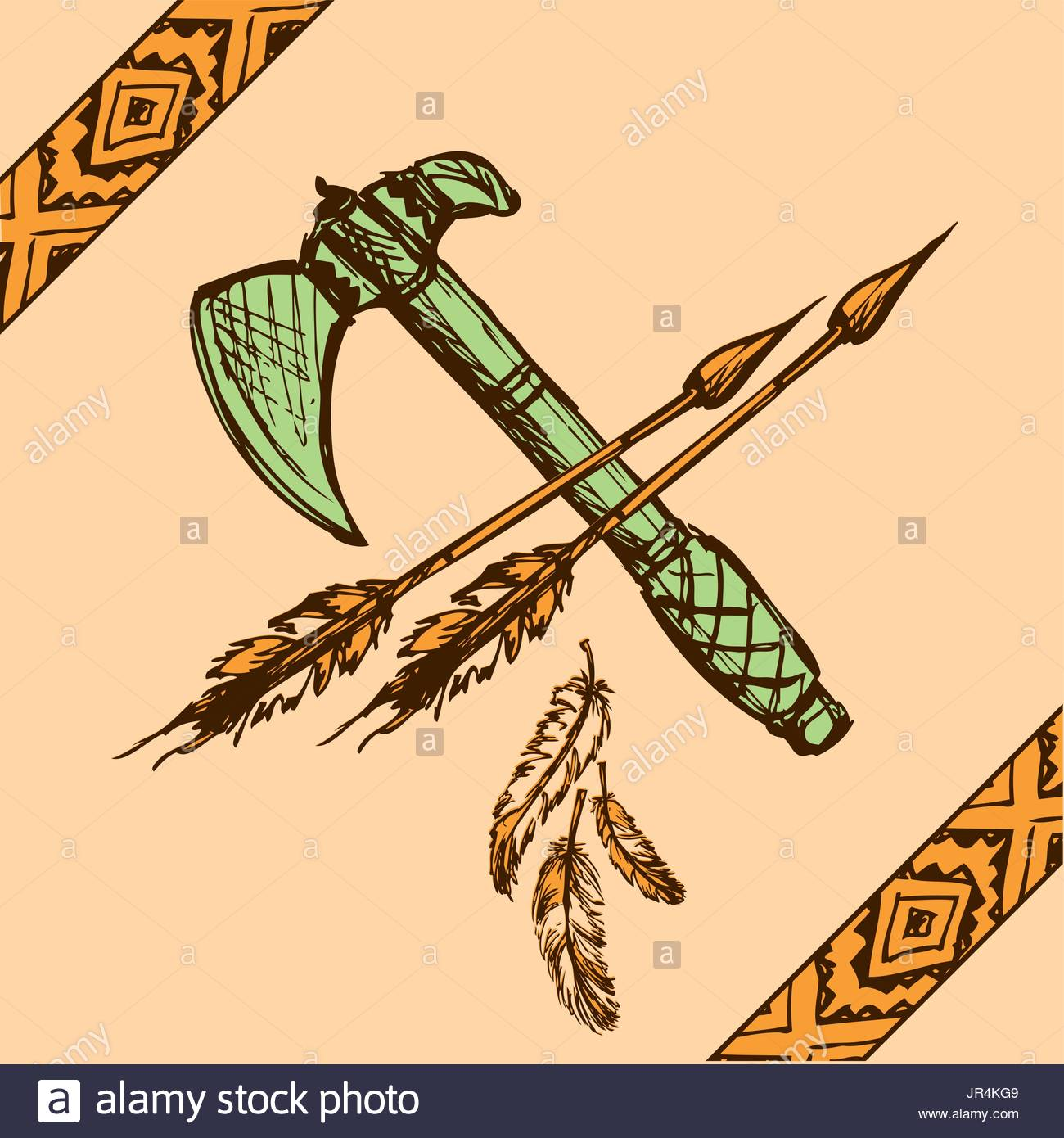 1300x1390 Vector Illustration Of Native American Indian Tomahawks, Hand