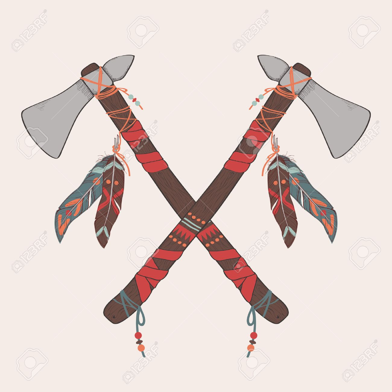 1300x1300 Vector Illustration Of Native American Indian Tomahawks Royalty
