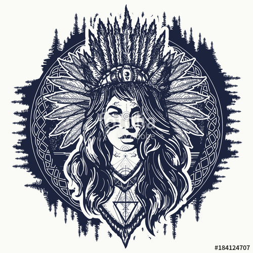 500x500 Tribal Indian Woman Tattoo And T Shirt Design. Native American