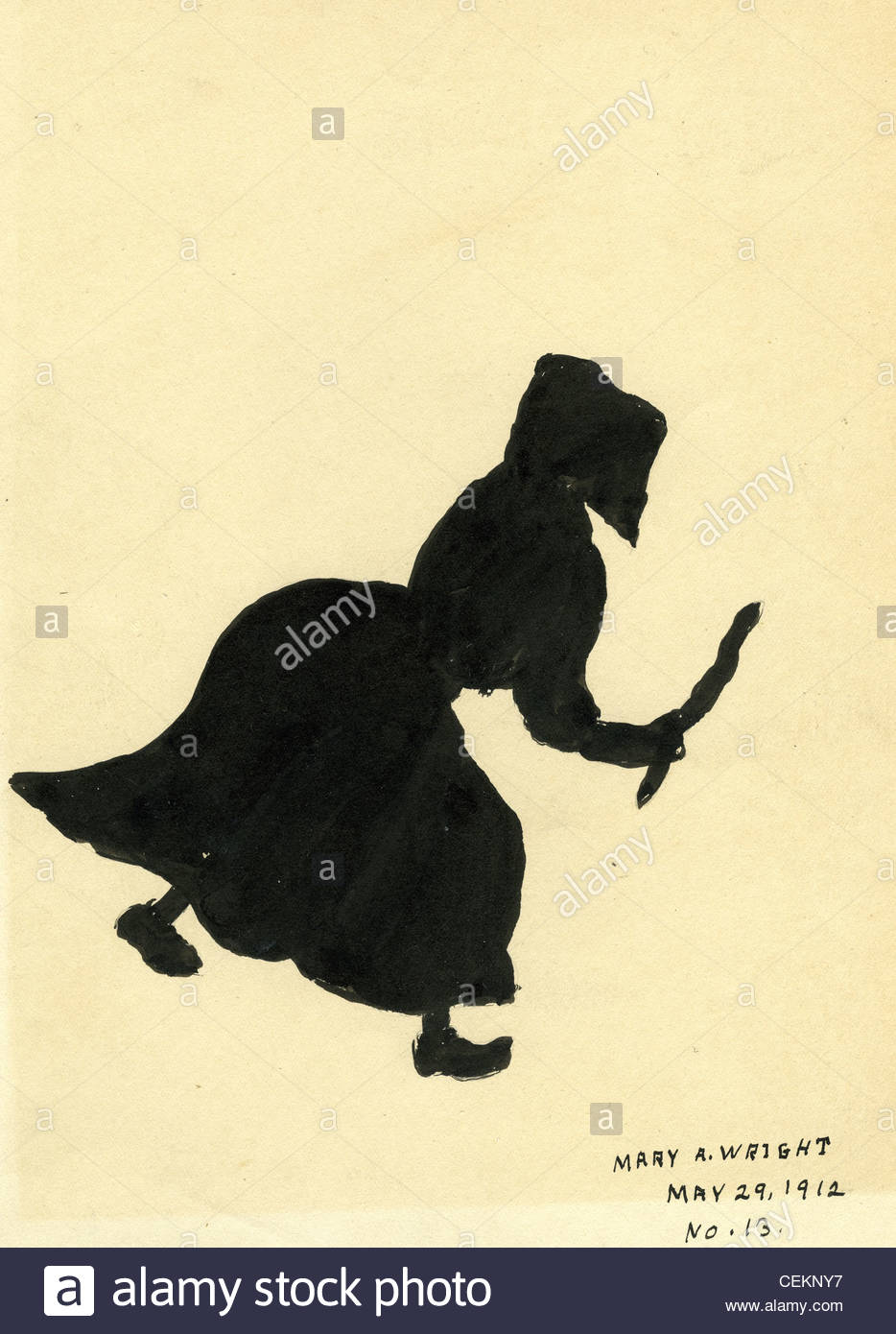 934x1390 India Ink Drawing Of Homestead Woman In Long Dress. Harvest