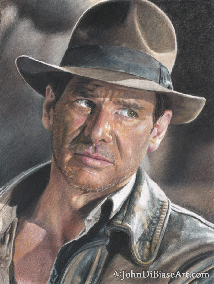 700x929 Colored Pencil Drawing Of Harrison Ford As Indiana Jones