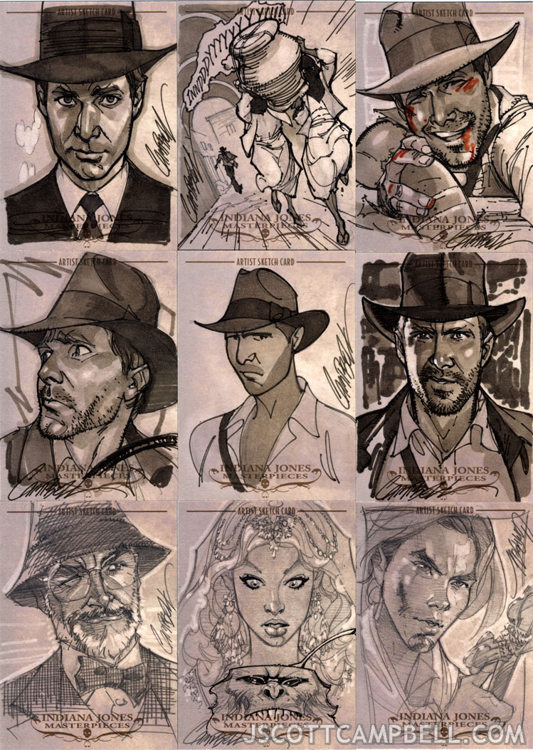 749x1054 Indiana Jones Sketch Cards 7 By J Scott Campbell