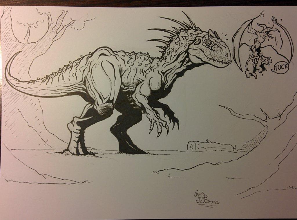 1024x758 Indominus Rex (Sketch) By Fpobama