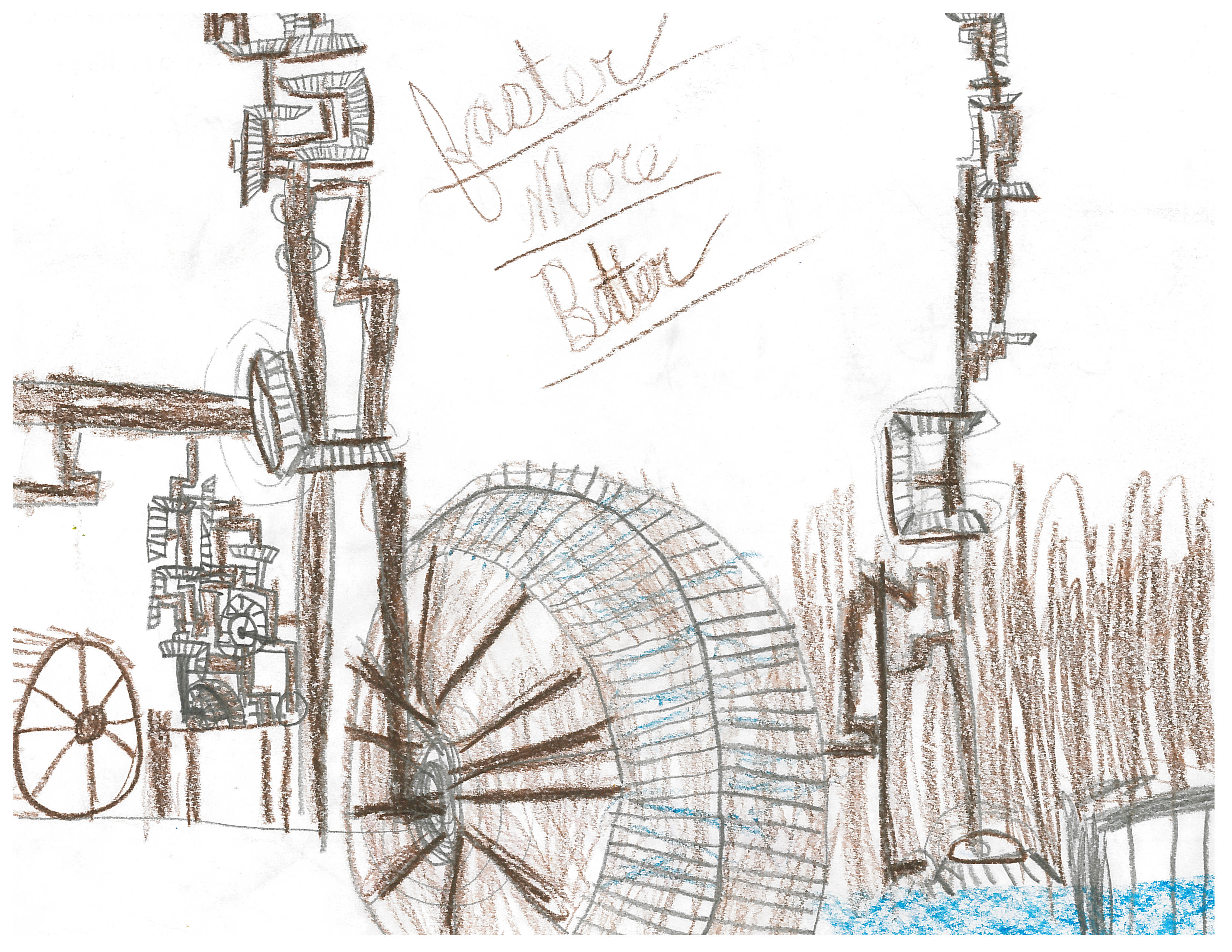 3312x2560 Child's Drawing Of Their Field Trip To Slater Mill. The Industrial