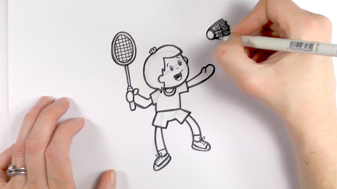 1280x720 How To Draw A Cartoon Boy Playing Badminton