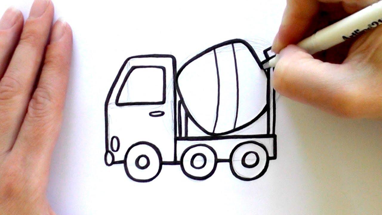 1280x720 How To Draw A Cartoon Concrete Mixer