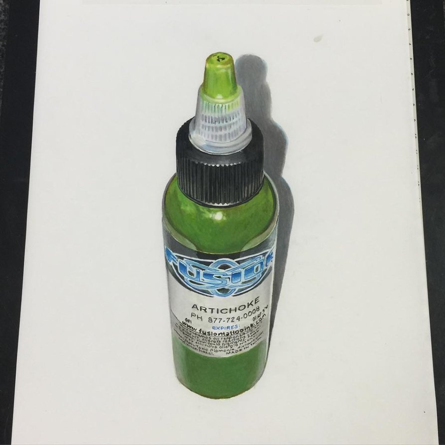 894x894 3d Realistic Fusion Tattoo Ink Bottle Drawing By Ponylawson