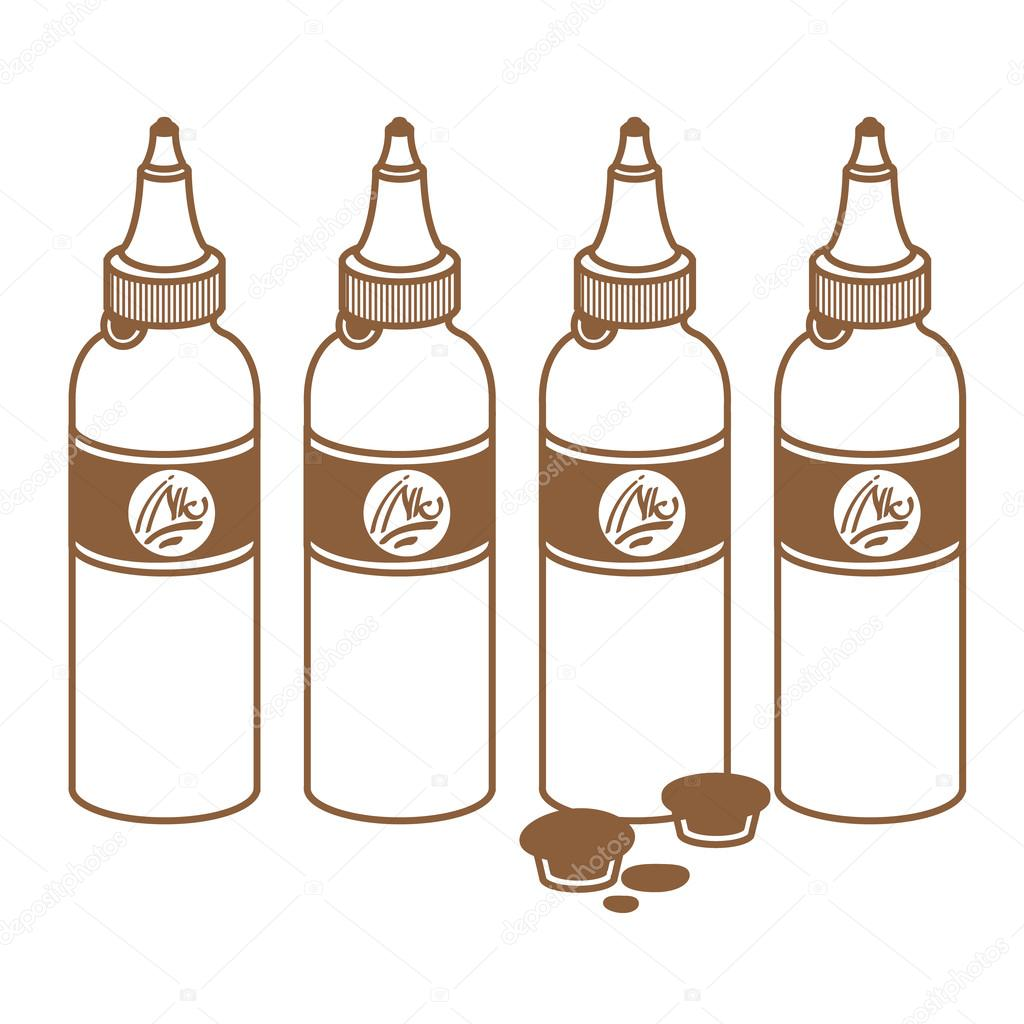 1024x1024 Tattoo Ink Bottles. Tattoo Accessory. Outline Drawing. Stock