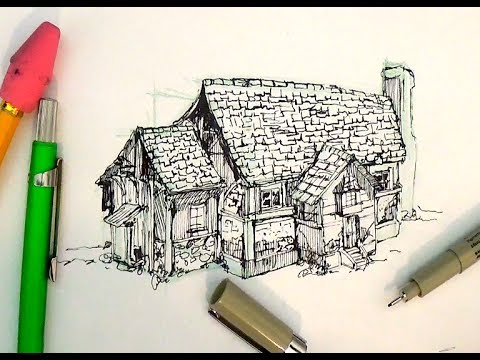 480x360 Pen And Ink Drawing Tutorials How To Draw A House