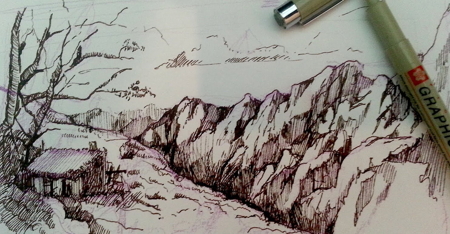 1484x773 Pen And Ink Drawing Tutorials How To Draw A Mountain Landscape