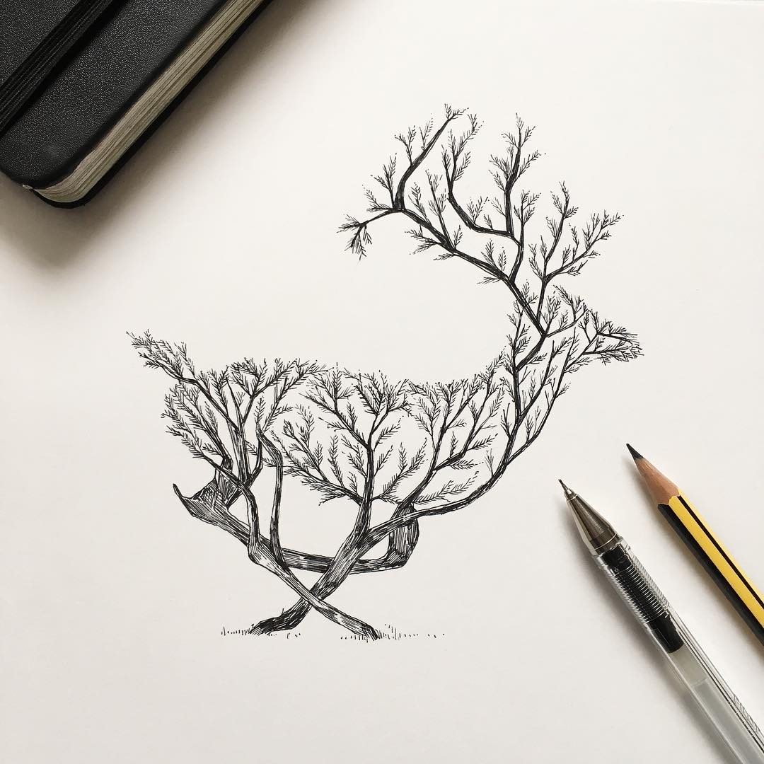 1080x1080 Pen Amp Ink Depictions Of Trees Sprouting Into Animals By Alfred