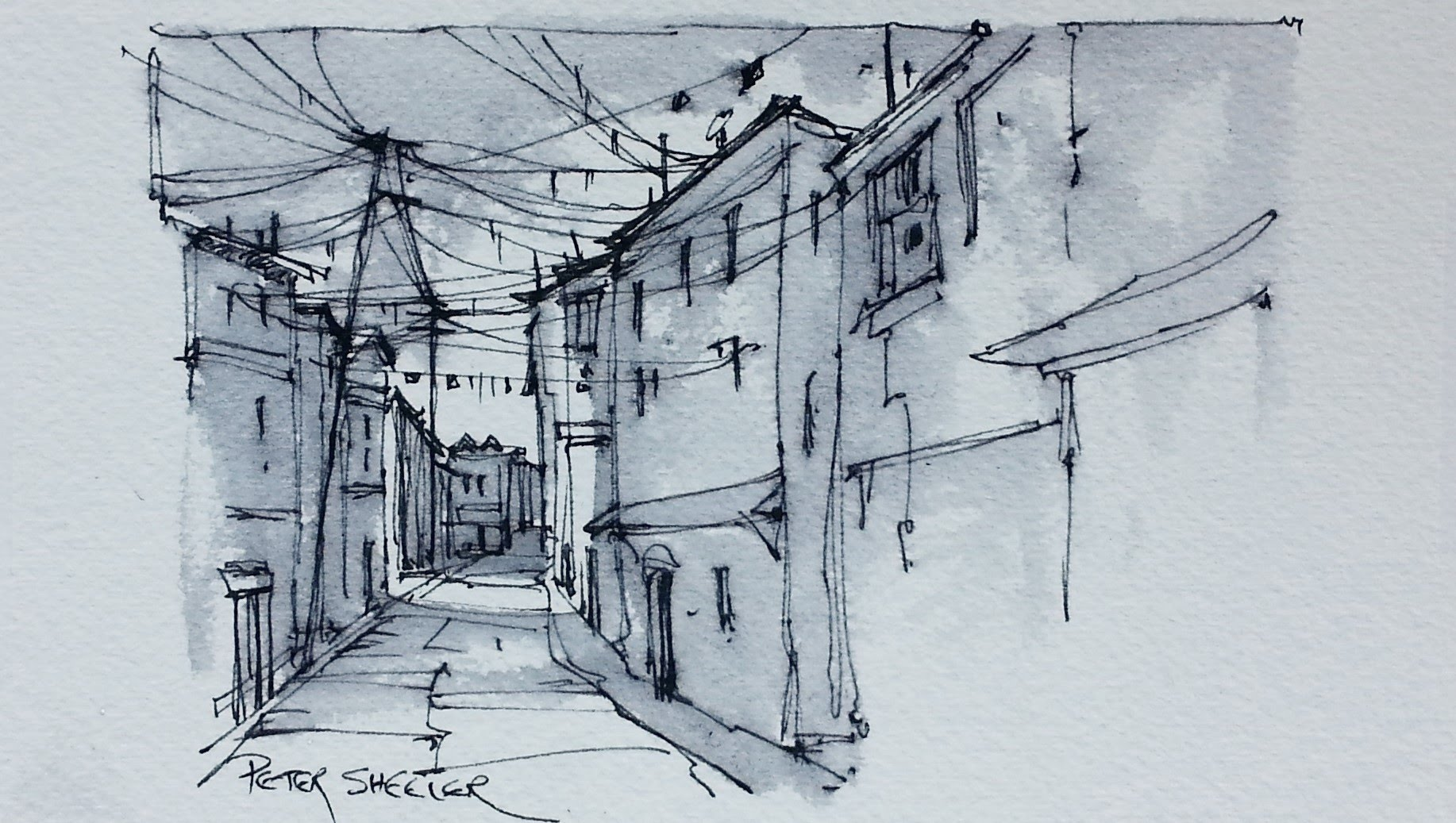1834x1037 An Alley Sketch Using Water Soluble Ink With Fountain Pen