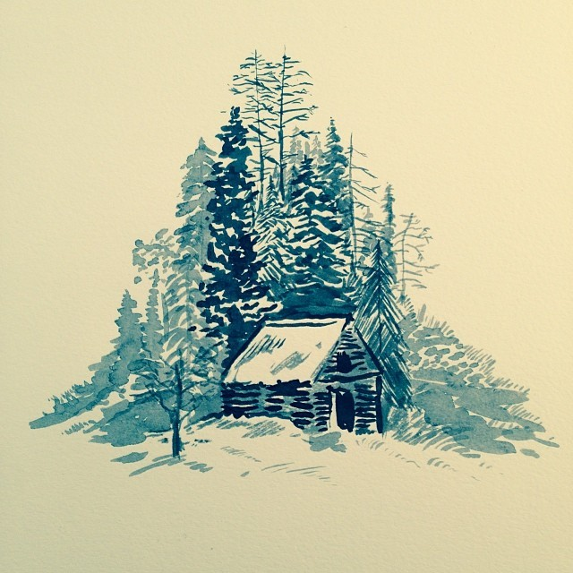 640x640 Ink And Water Drawing Of A Cabin. Know Anyone Who