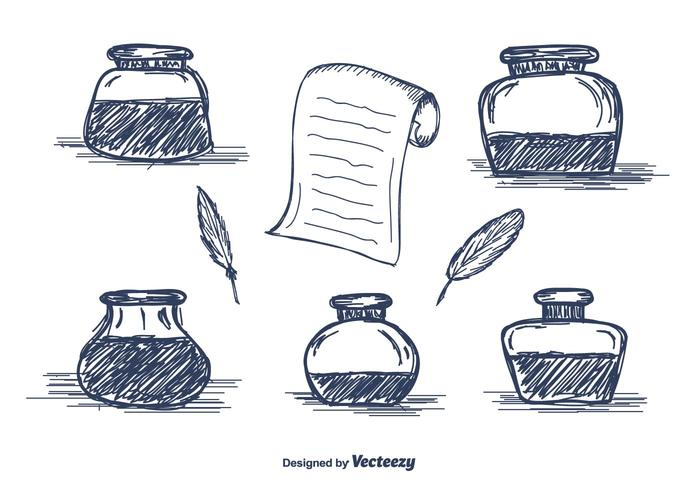 700x490 Hand Drawn Inkwell Vector Icons