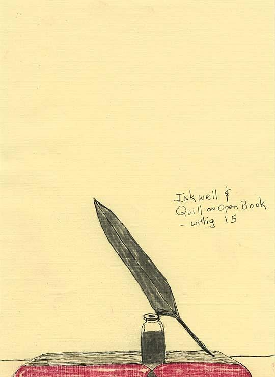 540x741 Inkwell And Quill On Open Book Drawing By Robert Wittig