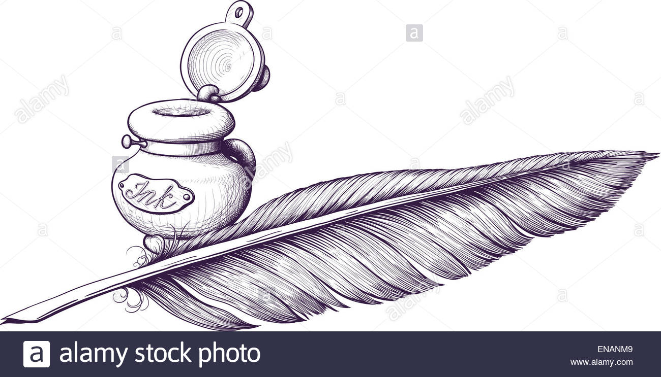 1300x743 Inkwell And Quill Pen Lying Next Stock Photo 81985801