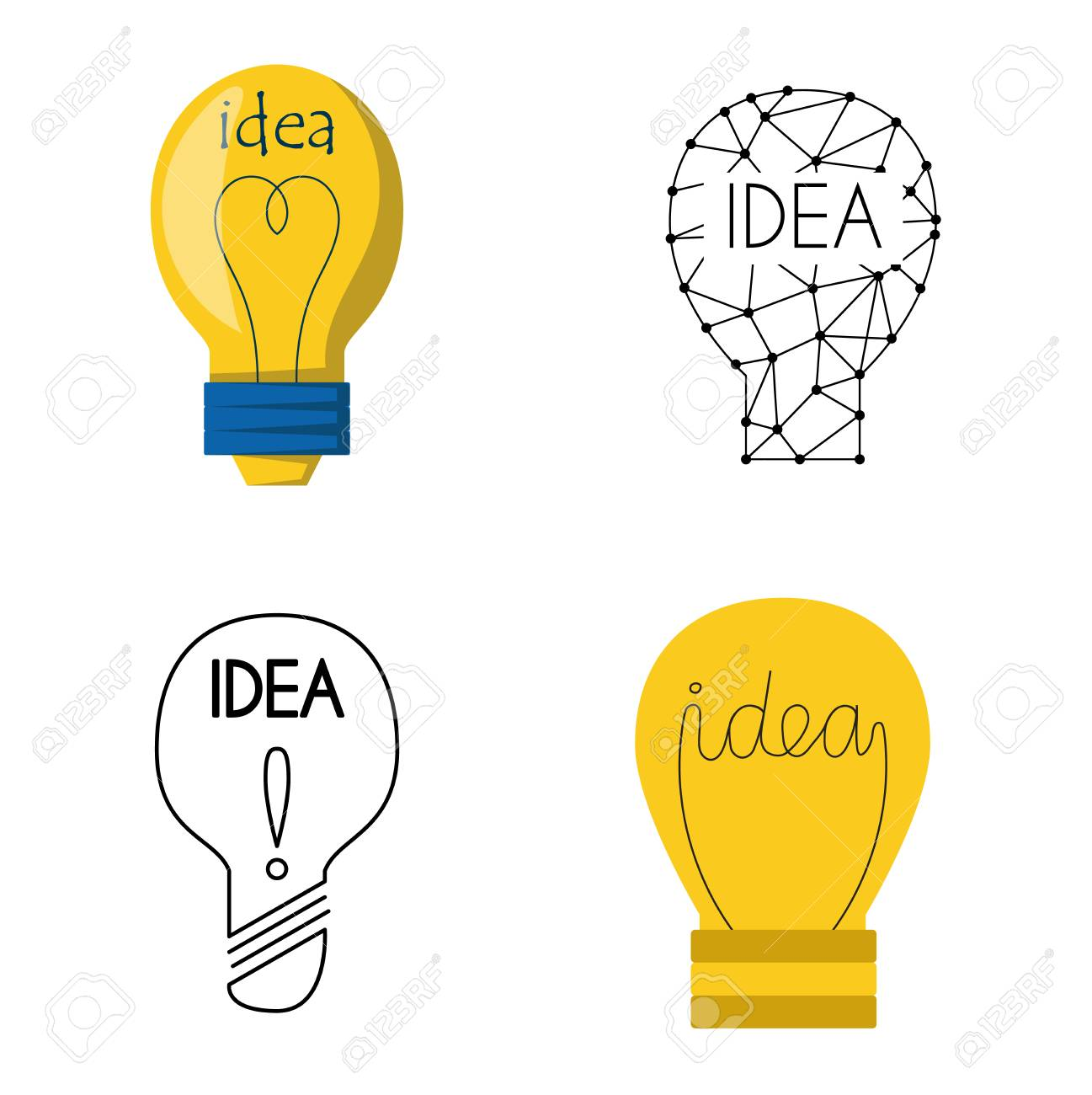 1297x1300 Drawing Idea Light Bulb Concept Creative Design. Vector Idea Lamp