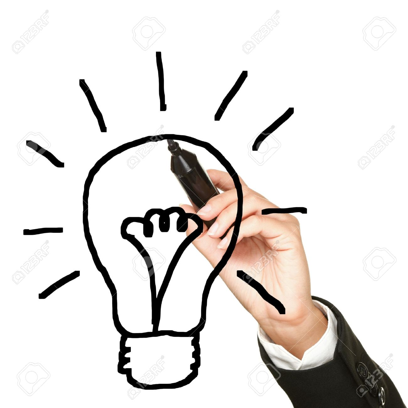 1300x1300 Light Bulb Idea Drawing Business Concept. Business Innovation