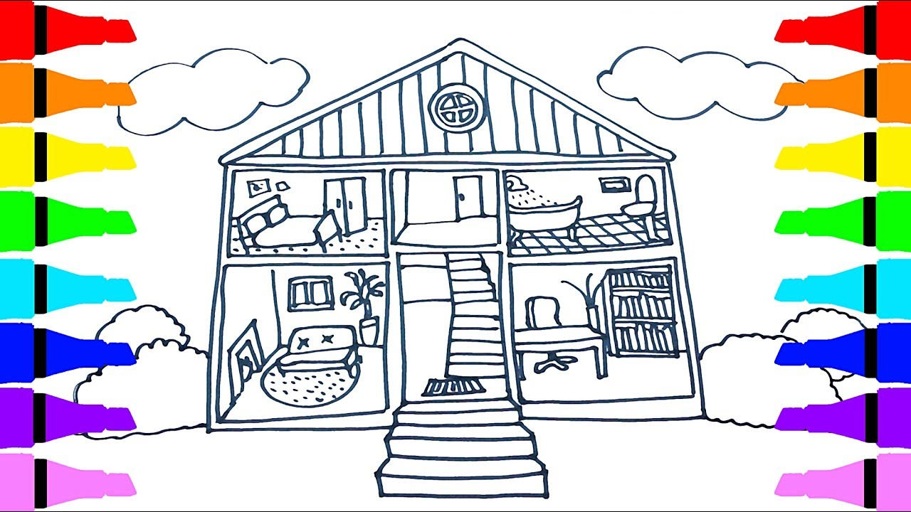 1280x720 House Indoors Drawing And Coloring For Kids Children Drawing