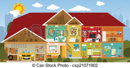 450x238 Inside The House. Vector Illustration