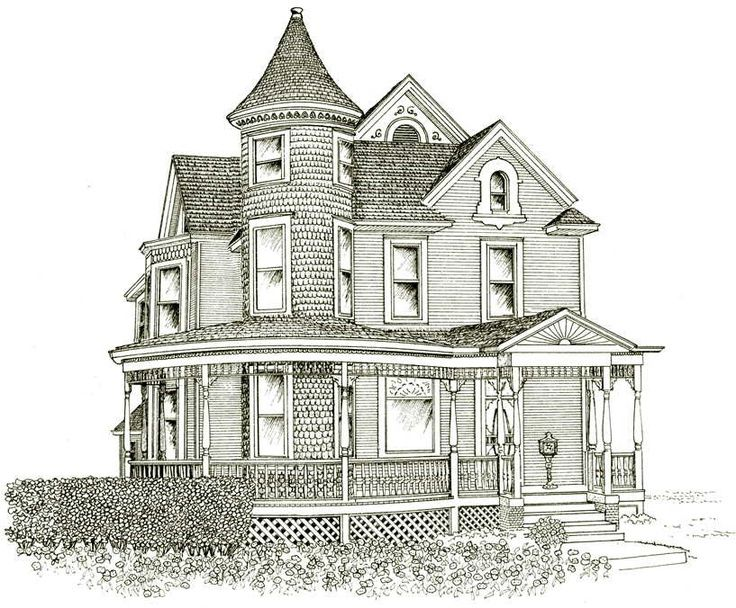 736x608 Victorian House Line Drawing Design Basic 10 On Inside Simple Home