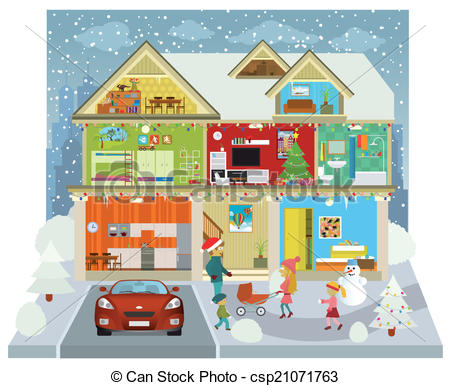 450x386 Inside The House (Winter) Vector Illustration Of The Family