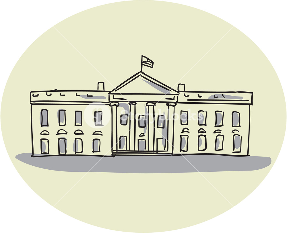 1000x813 Drawing Sketch Style Illustration Of The White House Building Set