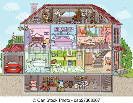 450x349 Inside The House. Two Storey House With Garage Sectional Clip Art