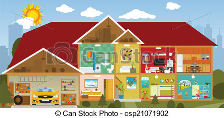 450x238 Inside The House. Vector Illustration