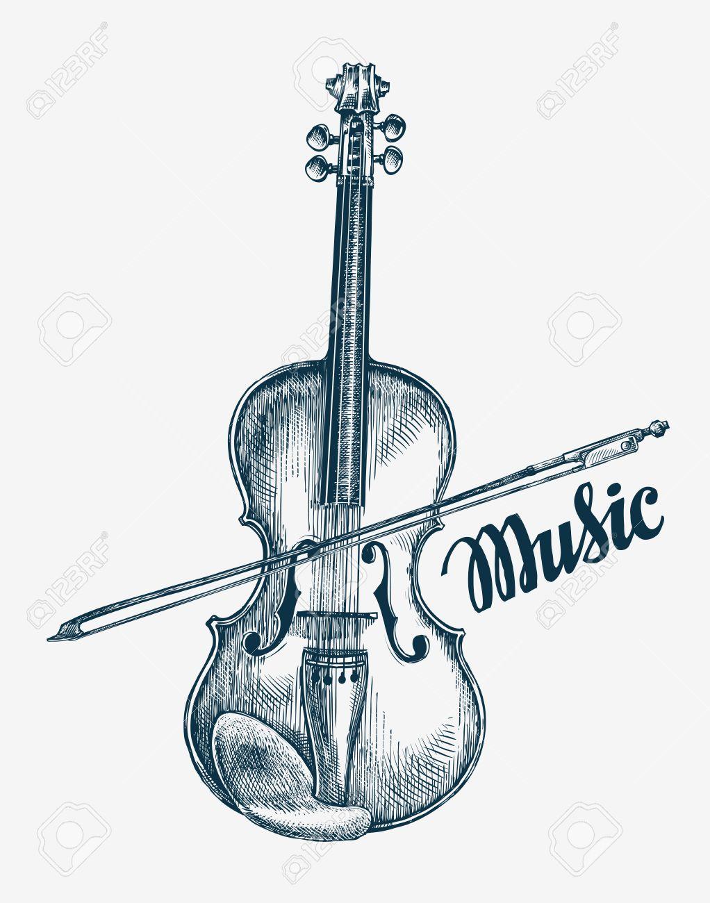 1022x1300 Hand Drawn Violin Vector Illustration. Sketch Musical Instrument