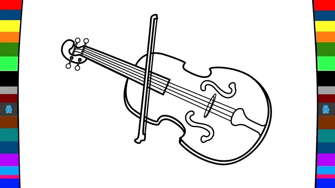 1280x720 Musical Instrument Coloring Page How To Draw A Violin Drawing