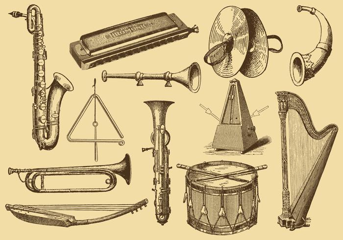 700x490 Old Style Drawing Musical Instruments
