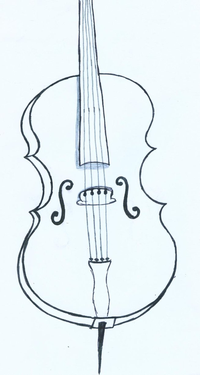 654x1222 Cello Drawing By Inkielove