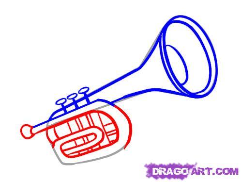 498x375 How To Draw A Trumpet For Kids Step By Step Trumpet
